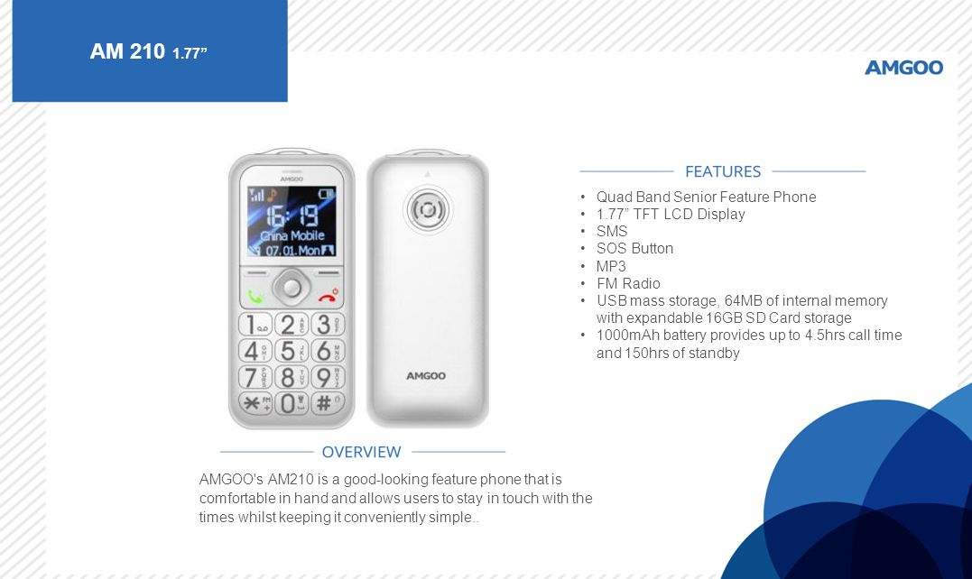 AM 210 1.77 Quad Band Senior Feature Phone 1.77 TFT LCD Display SMS