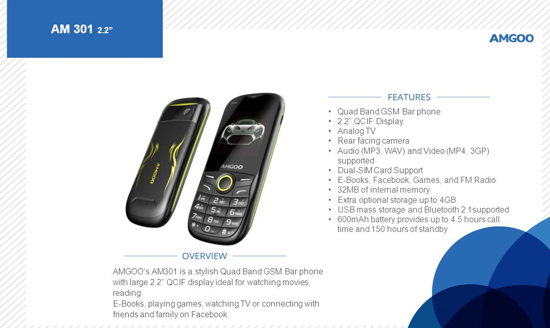 AM 301 2.2 Quad Band GSM Bar phone 2.2 QCIF Display Analog TV