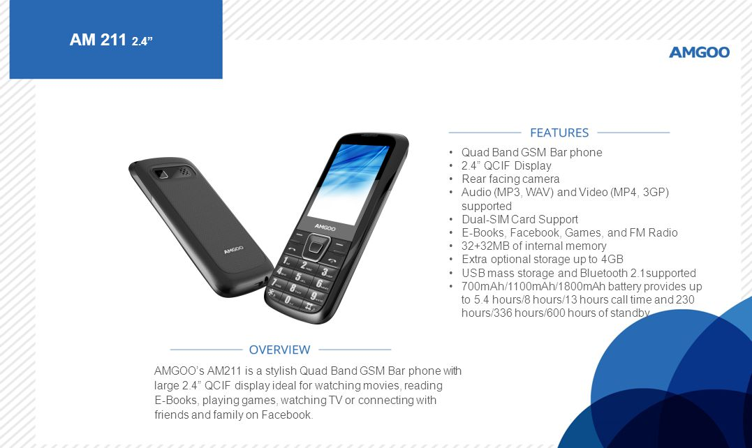 AM 211 2.4 Quad Band GSM Bar phone 2.4 QCIF Display