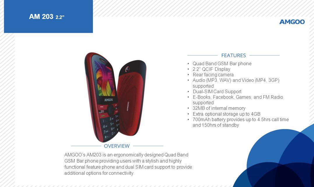 AM 203 2.2 Quad Band GSM Bar phone 2.2 QCIF Display