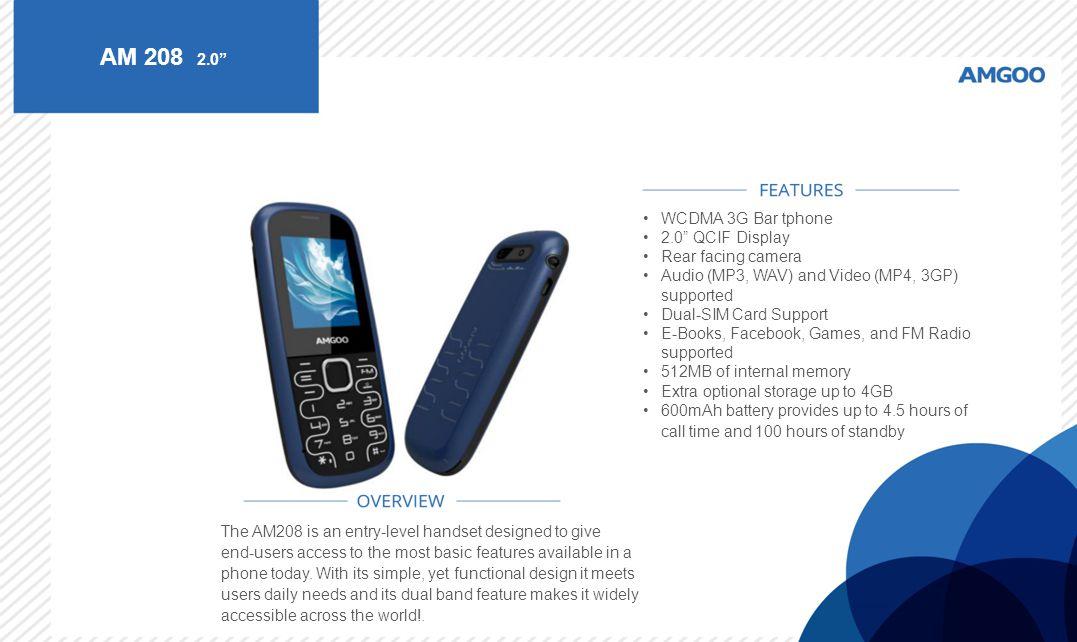 AM 208 2.0 WCDMA 3G Bar tphone 2.0 QCIF Display Rear facing camera