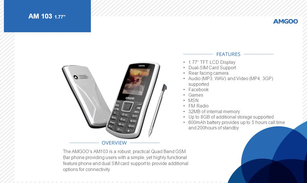 AM 103 1.77 1.77 TFT LCD Display Dual-SIM Card Support