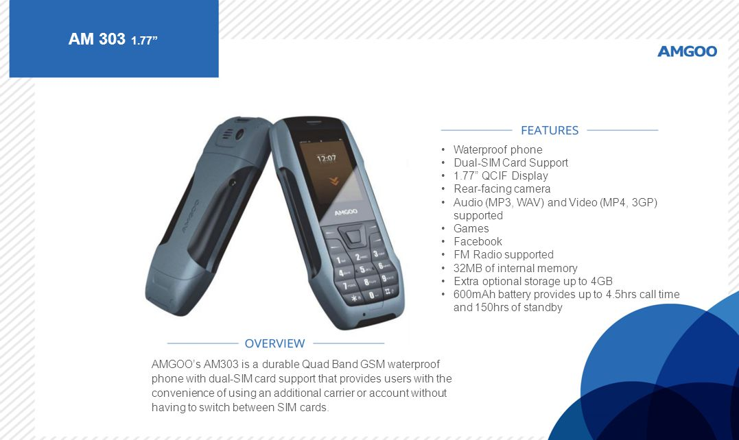 AM 303 1.77 Waterproof phone Dual-SIM Card Support 1.77 QCIF Display