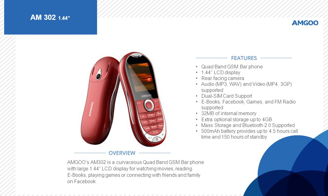 AM 302 1.44 Quad Band GSM Bar phone 1.44 LCD display