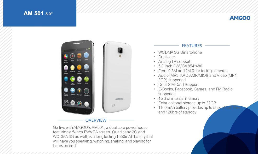 AM 501 5.0 WCDMA 3G Smartphone Dual core Analog TV support