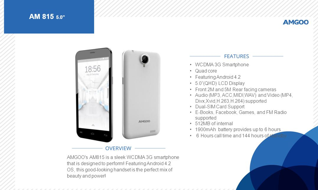 AM 815 5.0 WCDMA 3G Smartphone Quad core Featuring Android 4.2
