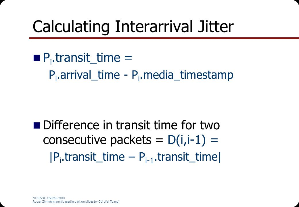 Calculating Interarrival Jitter