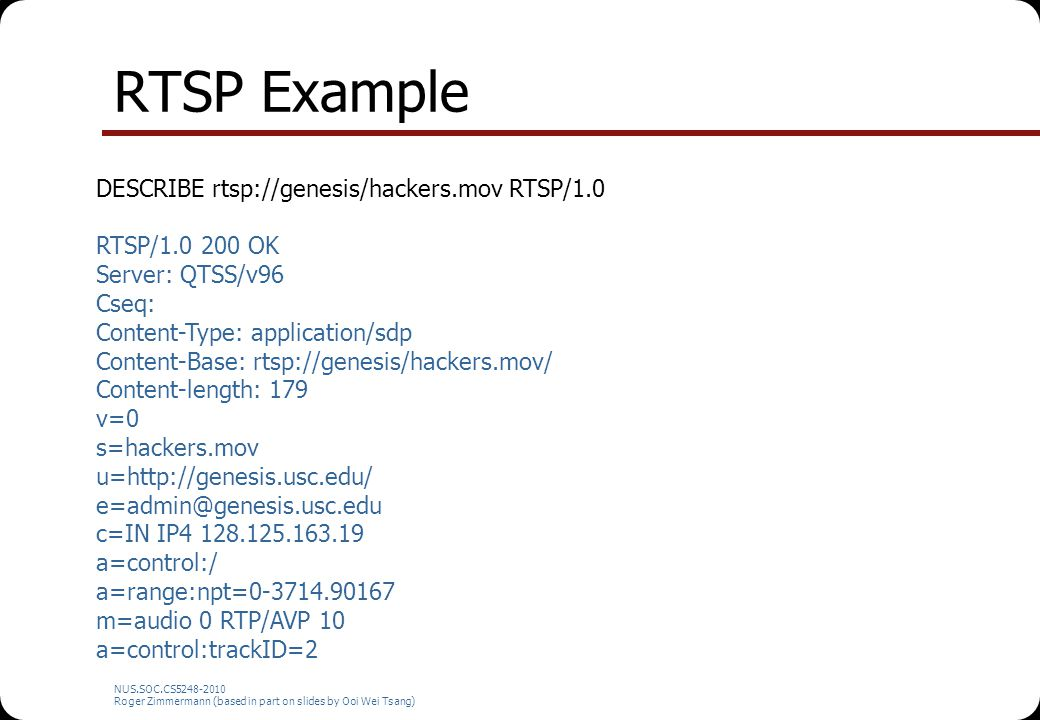 RTSP Example DESCRIBE rtsp://genesis/hackers.mov RTSP/1.0