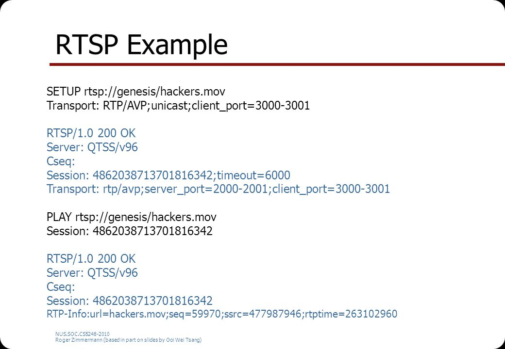 RTSP Example SETUP rtsp://genesis/hackers.mov