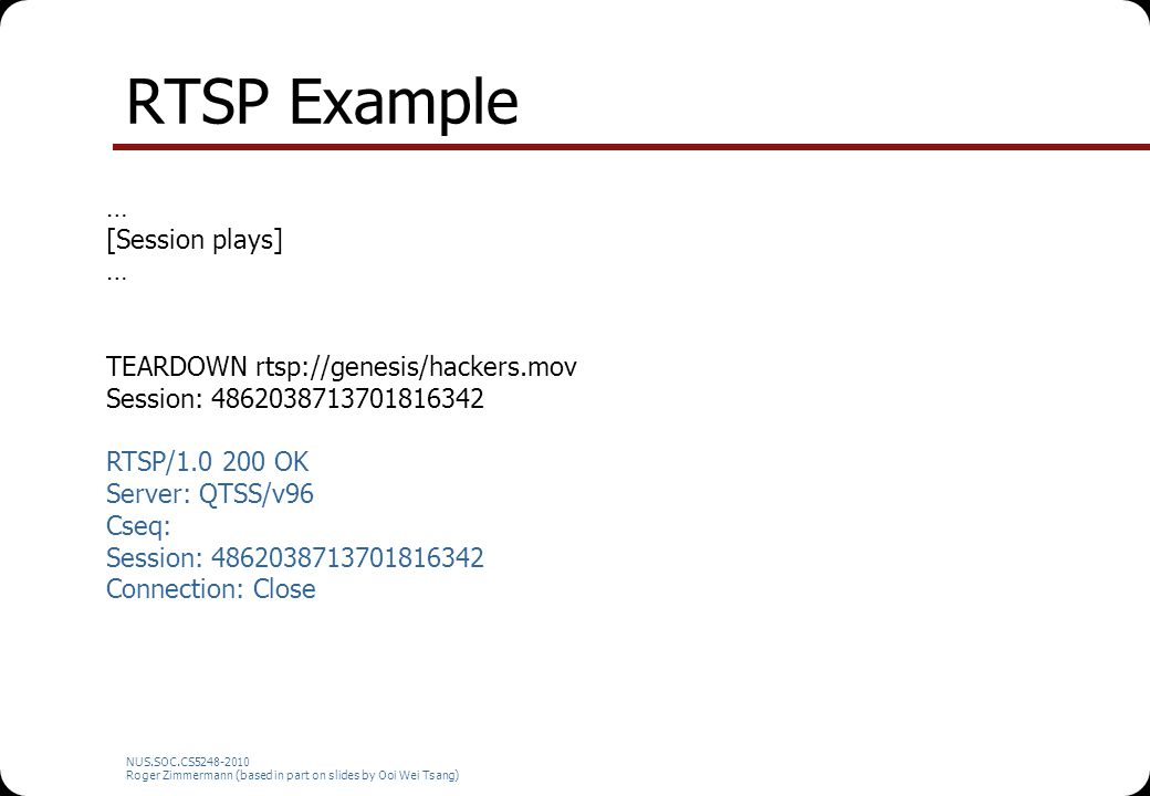 RTSP Example … [Session plays] TEARDOWN rtsp://genesis/hackers.mov