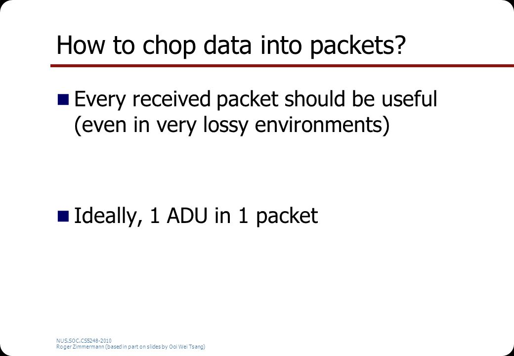 How to chop data into packets