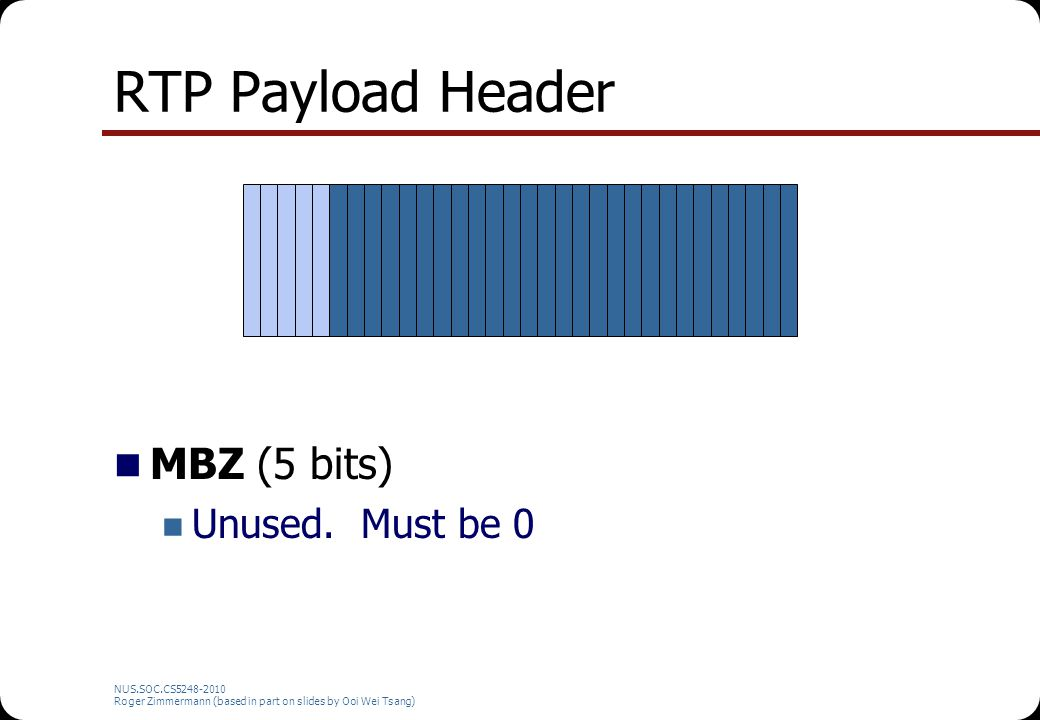 RTP Payload Header MBZ (5 bits) Unused. Must be 0 NUS.SOC.CS5248-2010