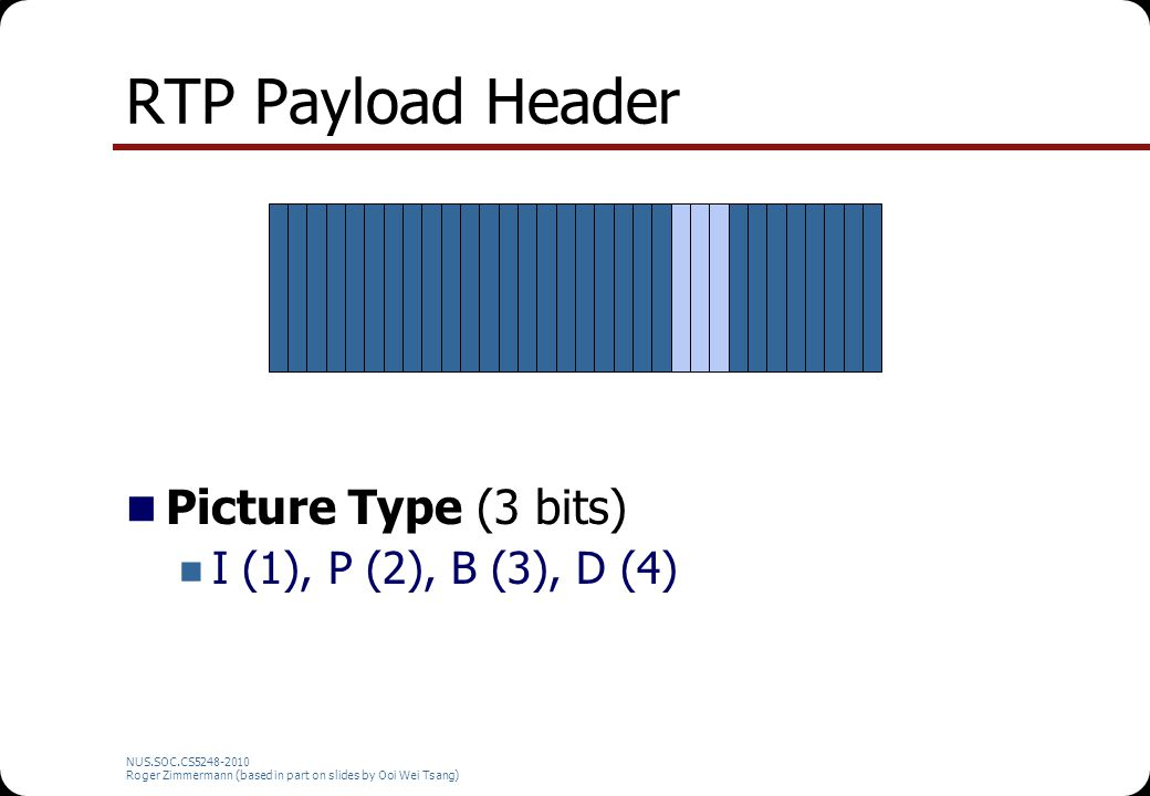 RTP Payload Header Picture Type (3 bits) I (1), P (2), B (3), D (4)
