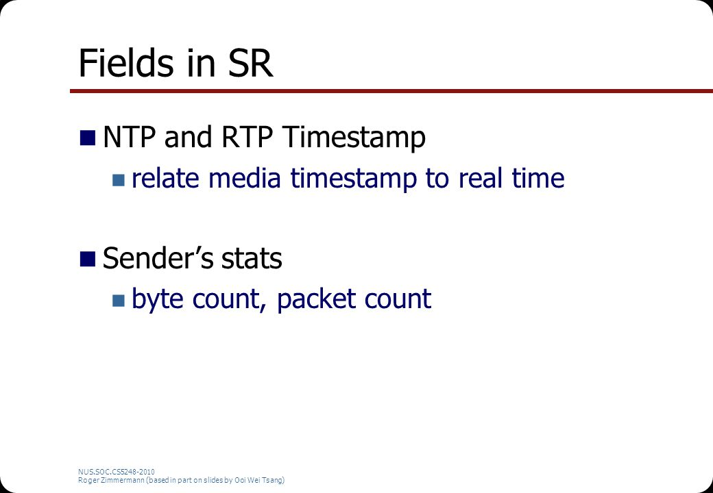Fields in SR NTP and RTP Timestamp Sender's stats