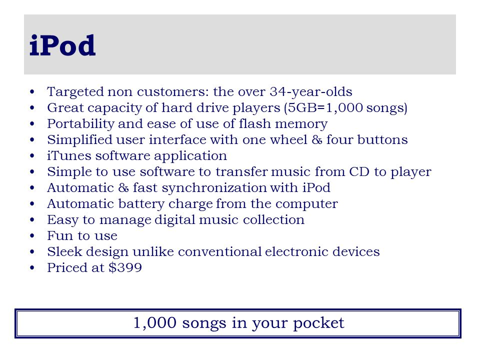 iPod 1,000 songs in your pocket