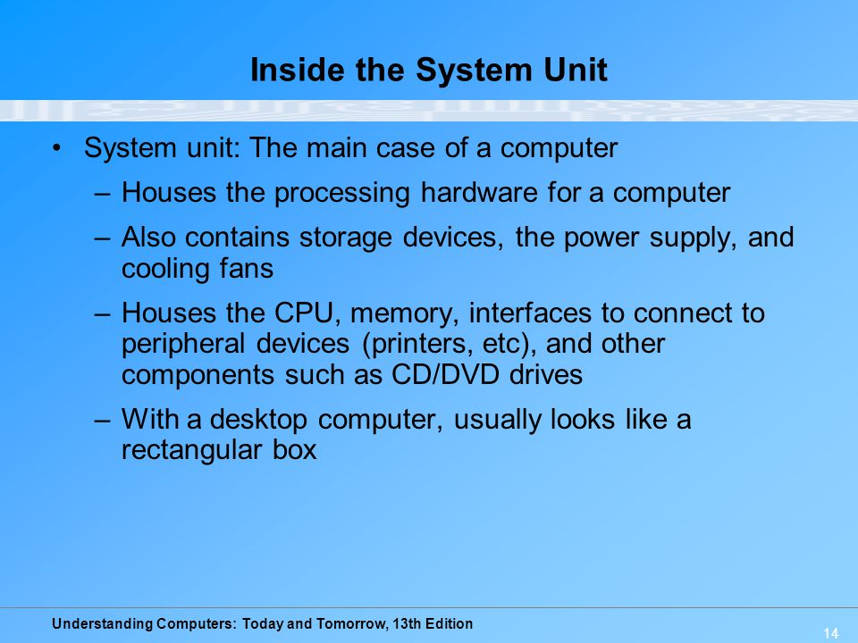 Inside the System Unit System unit: The main case of a computer