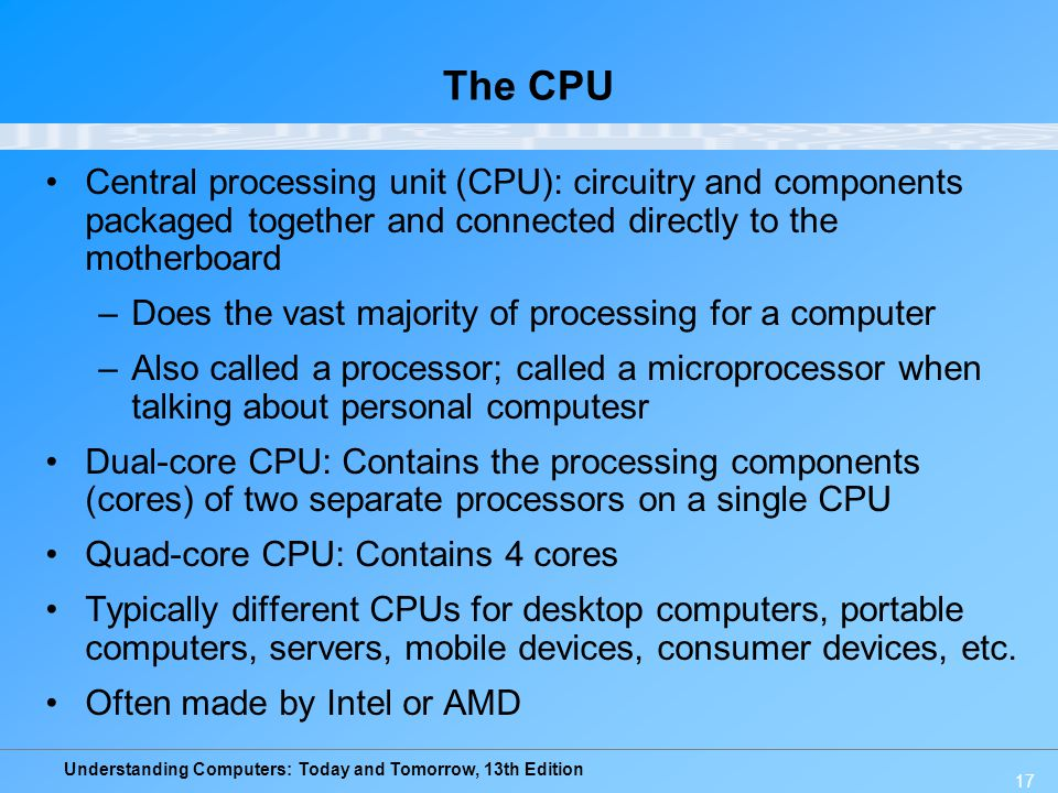The CPU Central processing unit (CPU): circuitry and components packaged together and connected directly to the motherboard.