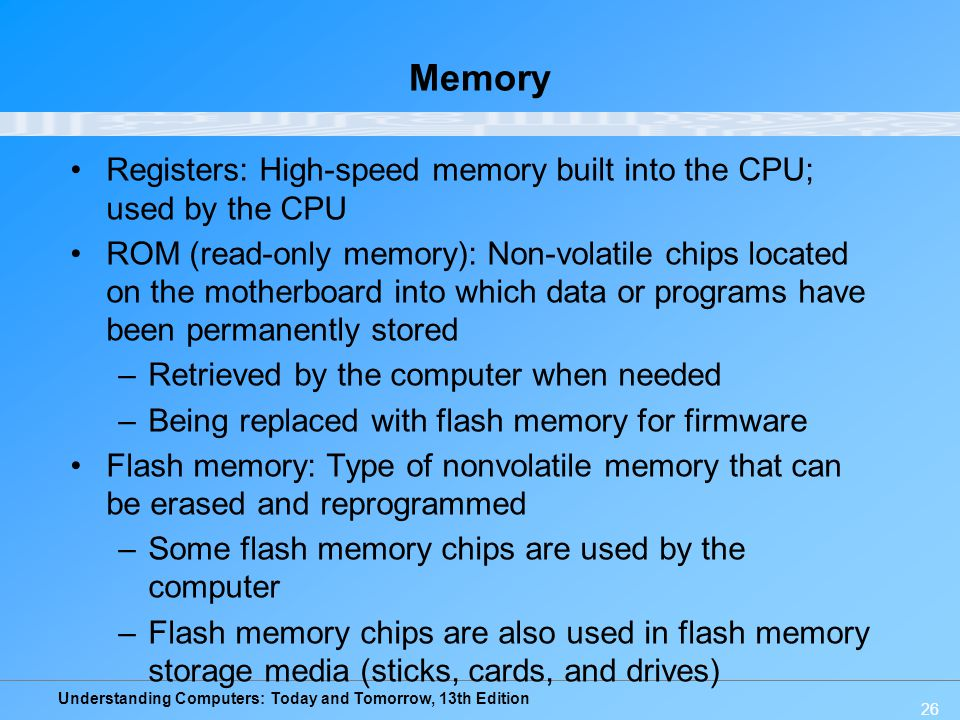 Memory Registers: High-speed memory built into the CPU; used by the CPU.