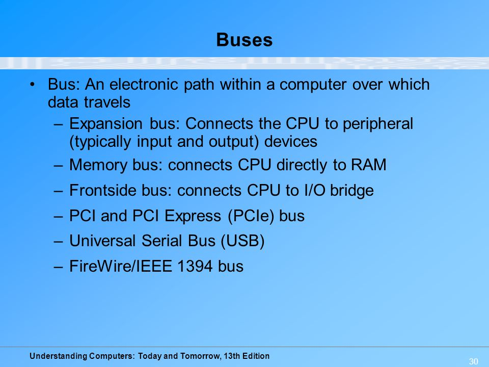 Buses Bus: An electronic path within a computer over which data travels.