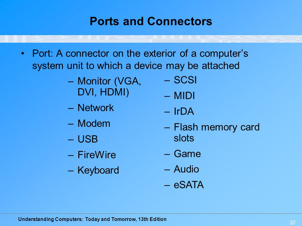 Ports and Connectors Port: A connector on the exterior of a computer's system unit to which a device may be attached.