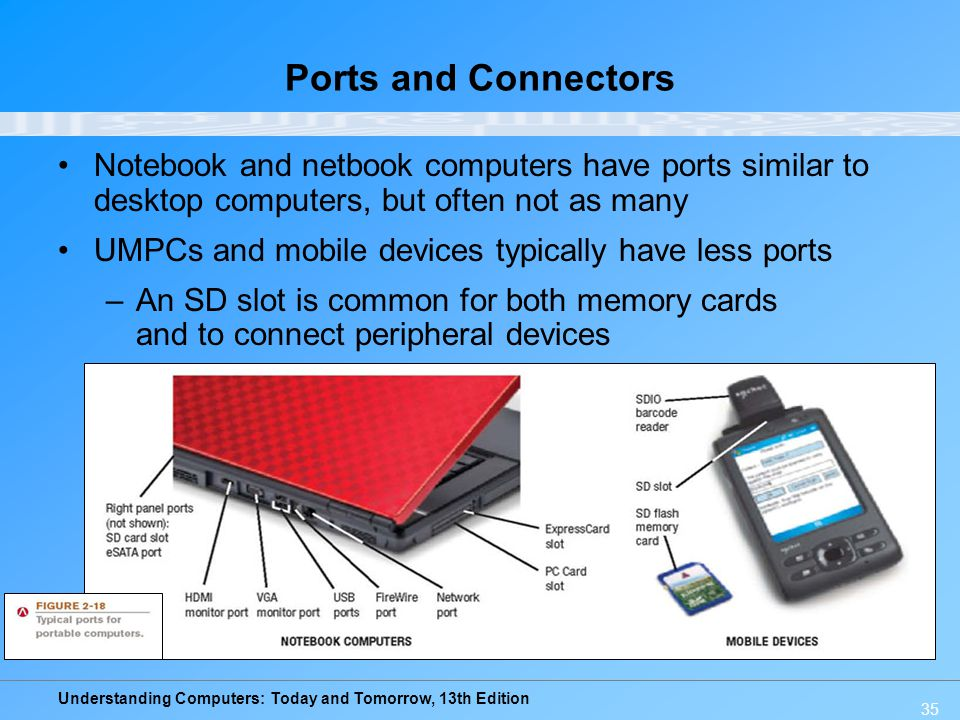 Ports and Connectors Notebook and netbook computers have ports similar to desktop computers, but often not as many.
