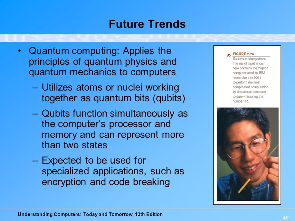 Future Trends Quantum computing: Applies the principles of quantum physics and quantum mechanics to computers.