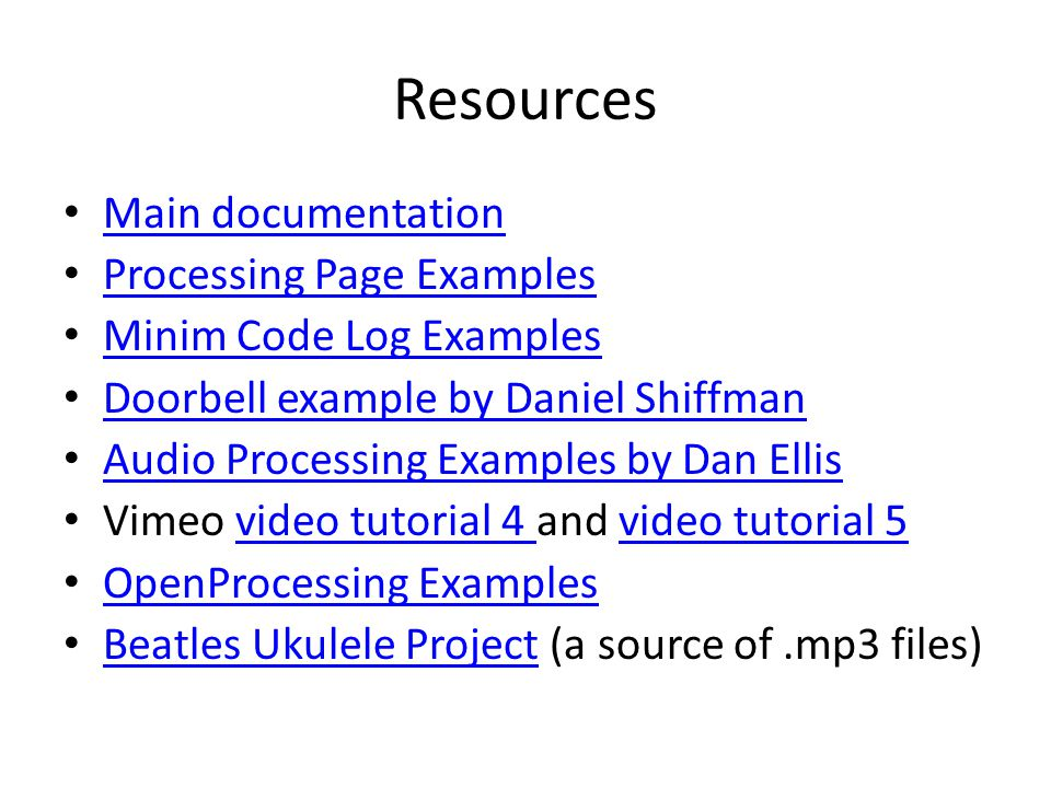 Resources Main documentation Processing Page Examples
