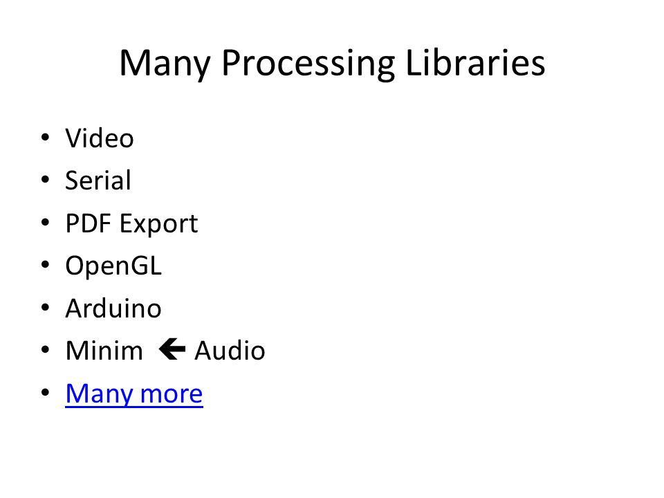 Many Processing Libraries