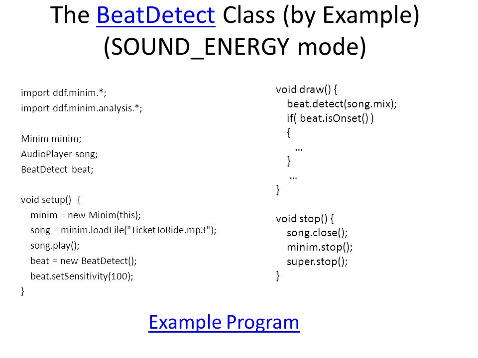 The BeatDetect Class (by Example) (SOUND_ENERGY mode)