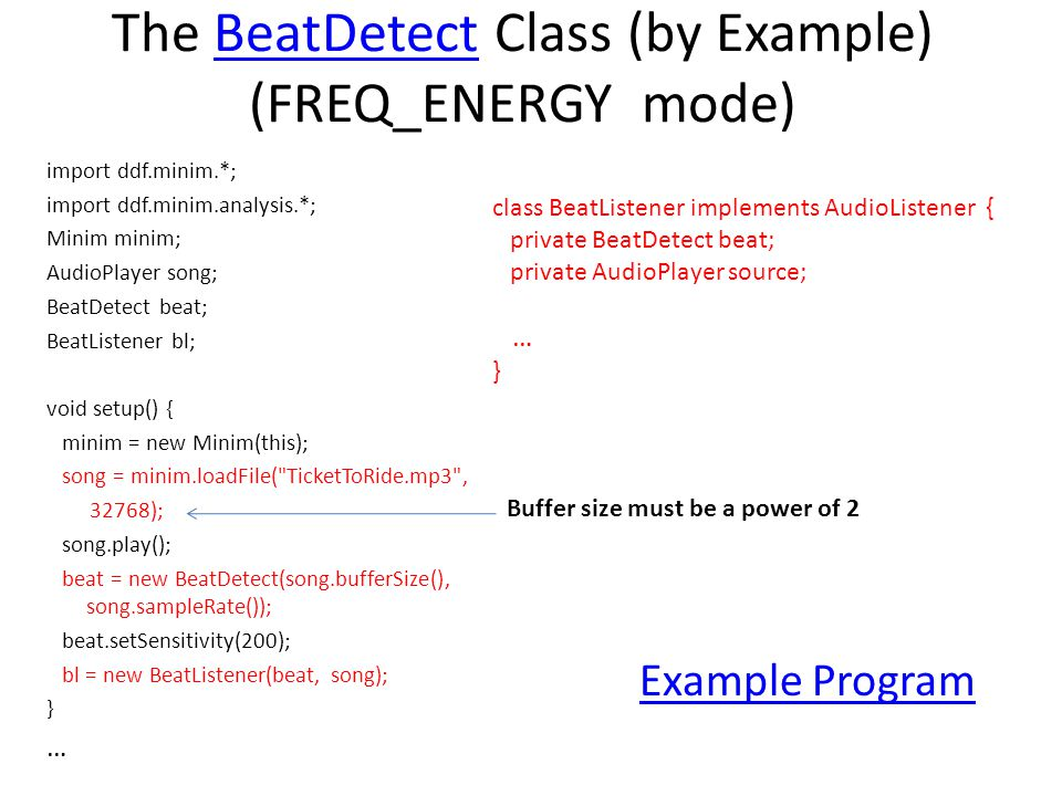The BeatDetect Class (by Example) (FREQ_ENERGY mode)