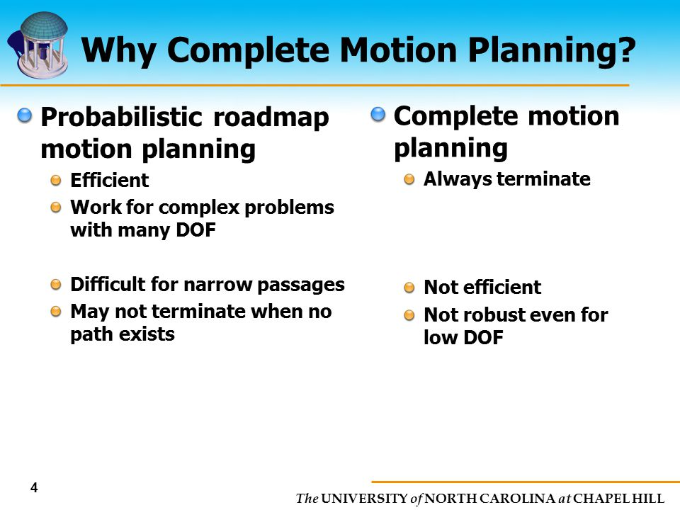 Why Complete Motion Planning