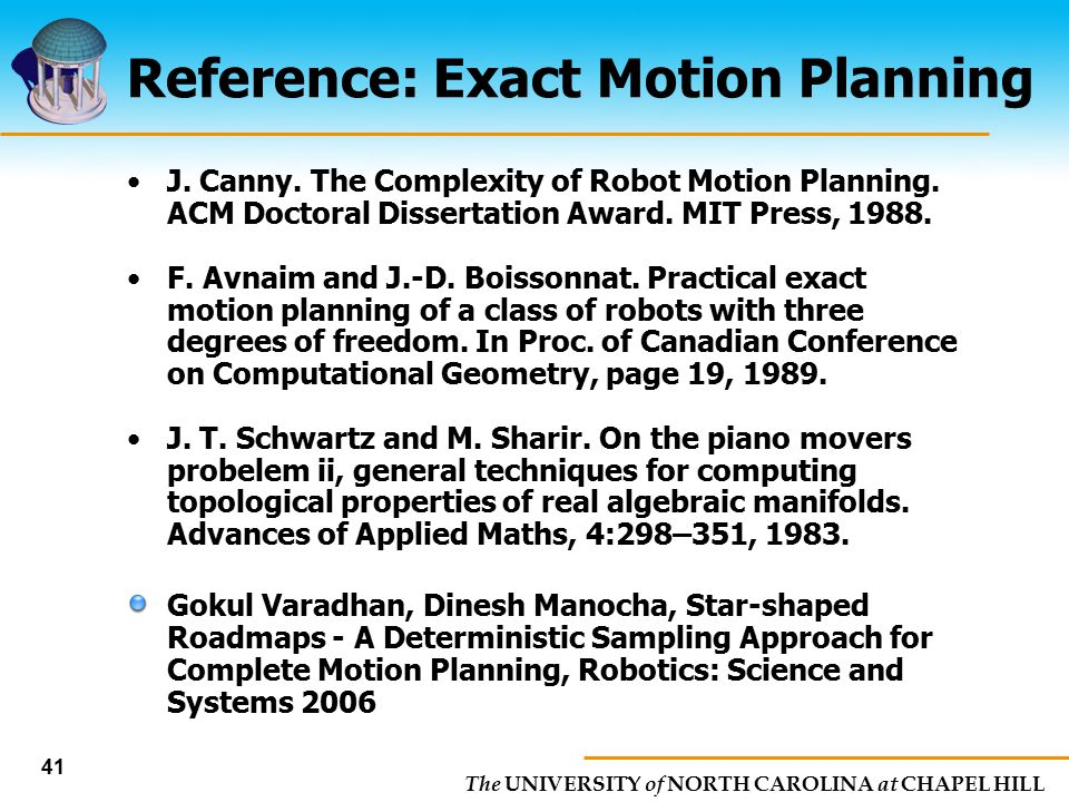Reference: Exact Motion Planning