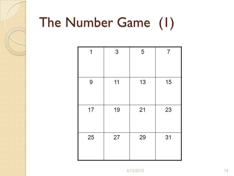 The Number Game (1) 1 3 5 7 9 11 13 15 17 19 21 23 25 27 29 31 4/11/2017