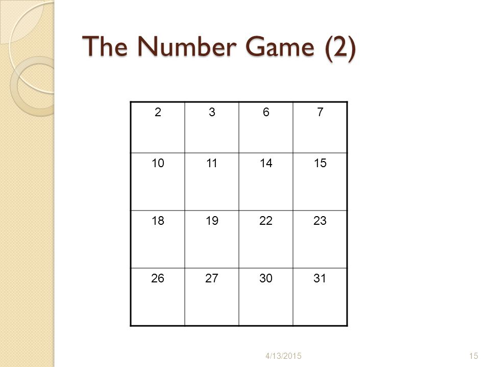 The Number Game (2) 2 3 6 7 10 11 14 15 18 19 22 23 26 27 30 31 4/11/2017