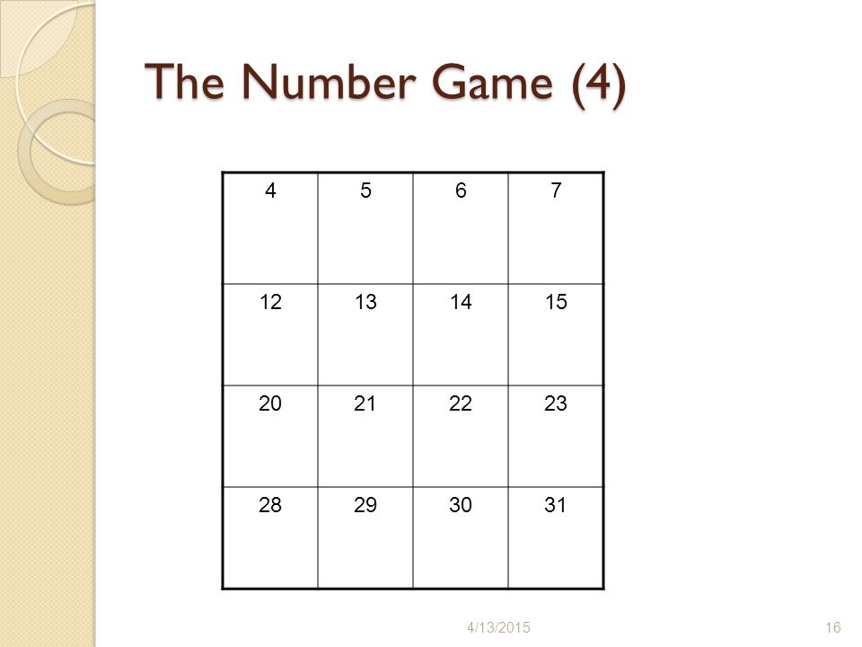 The Number Game (4) 4 5 6 7 12 13 14 15 20 21 22 23 28 29 30 31 4/11/2017