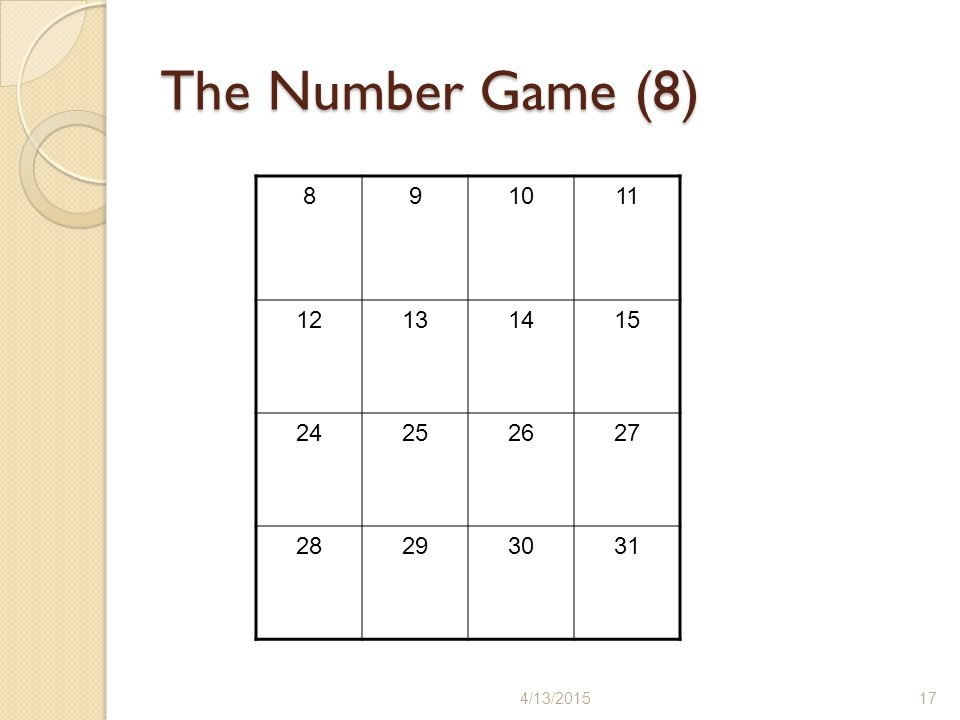 The Number Game (8) /11/2017