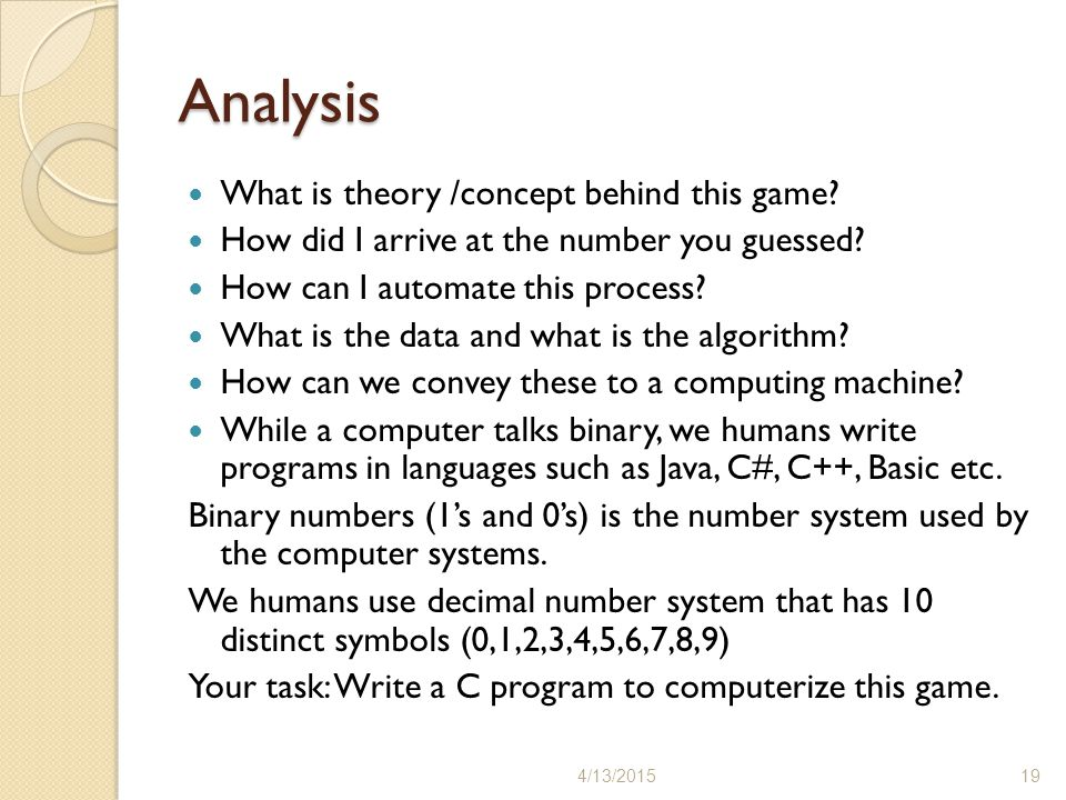 Analysis What is theory /concept behind this game