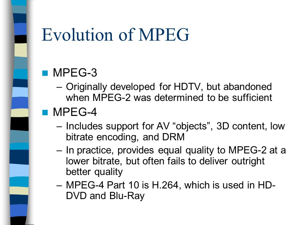 Evolution of MPEG MPEG-3 MPEG-4