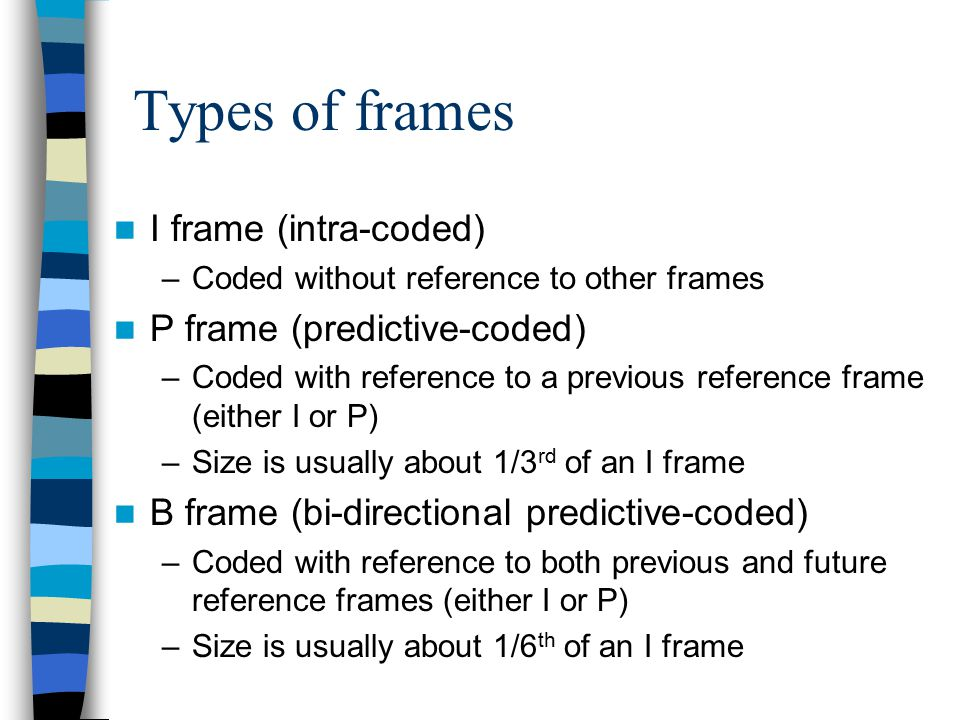 Types of frames I frame (intra-coded) P frame (predictive-coded)