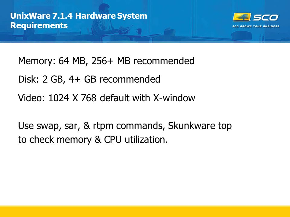 UnixWare 7.1.4 Hardware System Requirements
