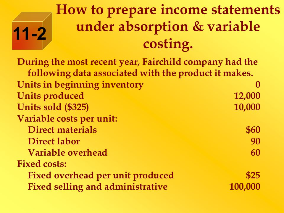 How to prepare income statements under absorption & variable costing.