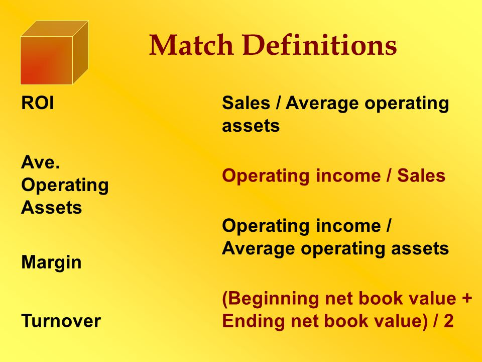 Match Definitions ROI Sales / Average operating assets