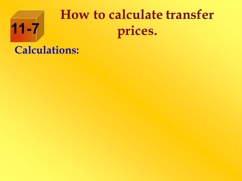 How to calculate transfer prices.