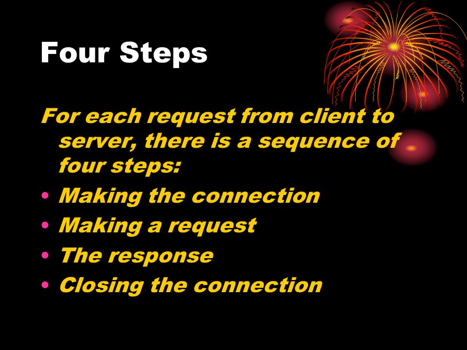 Four Steps For each request from client to server, there is a sequence of four steps: Making the connection.