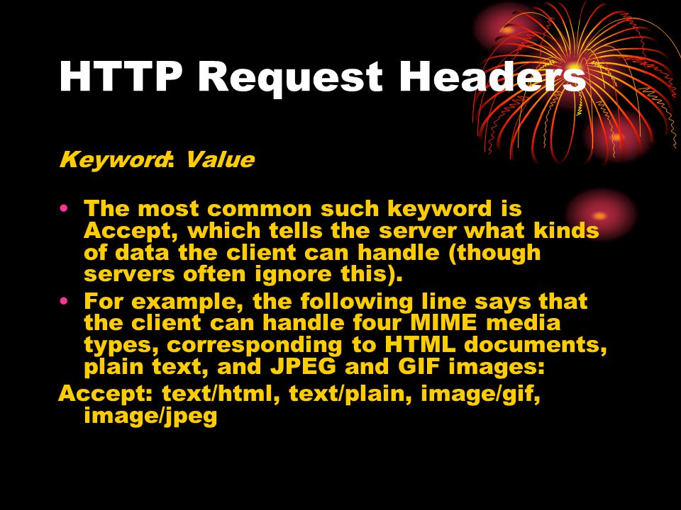 HTTP Request Headers Keyword: Value