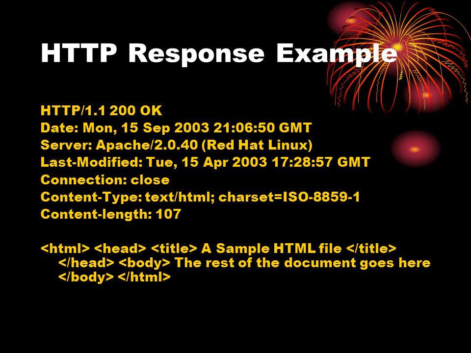 HTTP Response Example HTTP/1.1 200 OK