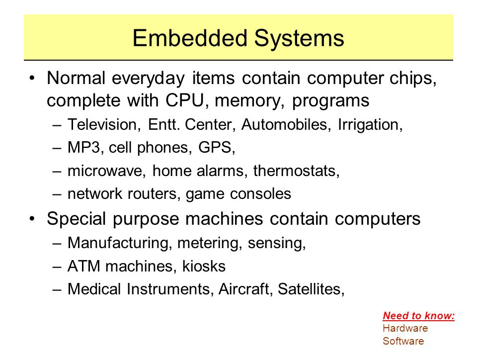 Embedded Systems Normal everyday items contain computer chips, complete with CPU, memory, programs.