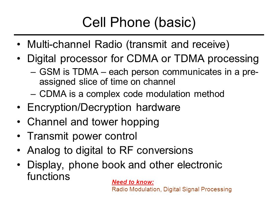 Cell Phone (basic) Multi-channel Radio (transmit and receive)