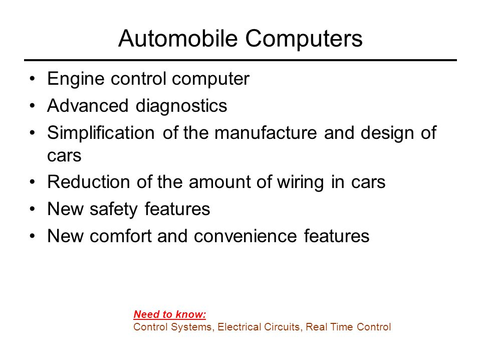 Automobile Computers Engine control computer Advanced diagnostics