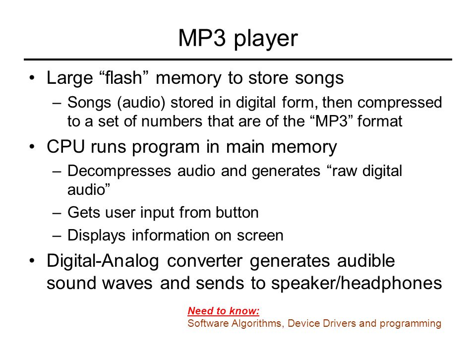 MP3 player Large flash memory to store songs